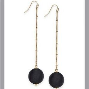 INC Black Ball Long Drop Earrings